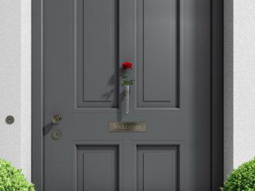 BDV Windows voordeur met roos en Welcome